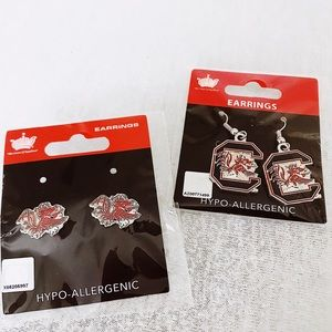 South Carolina GAMECOCKS earrings (2 sets)